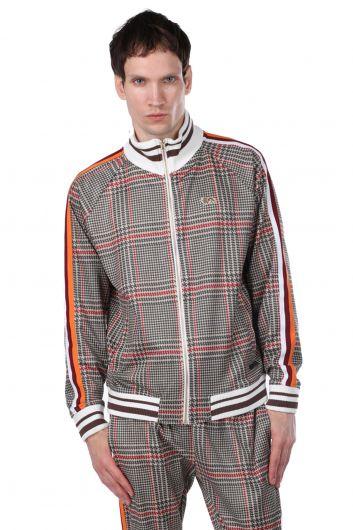 Kolları Şeritli Kareli Fermuarlı Erkek Sweatshirt - Thumbnail