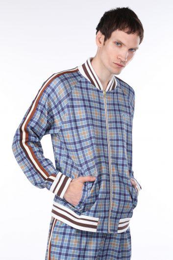 LONSDALE - Kolları Şeritli Mavi Ekose Fermuarlı Erkek Sweatshirt (1)