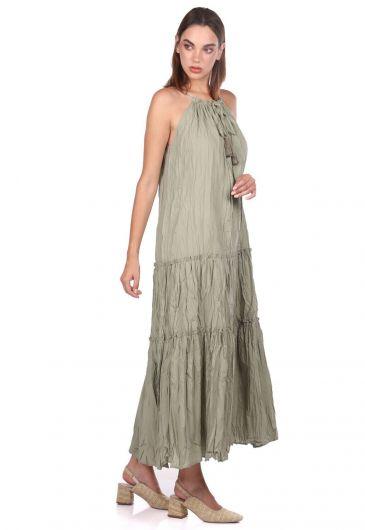 MARKAPIA WOMAN - Открытое прямое платье цвета хаки без рукавов (1)