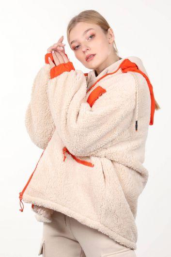 MARKAPIA WOMAN - Krem Astarlı Cep Detaylı Peluş Oversize Kadın Mont (1)