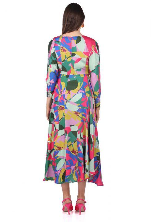 Kruvaze Yaka Karışık Renk Desenli Elbise