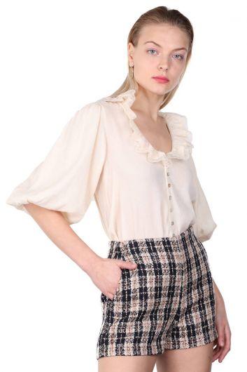 MARKAPIA WOMAN - قميص نسائي بياقة دانتيل وأكمام بالون (1)