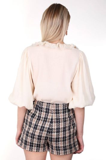 قميص نسائي بياقة دانتيل وأكمام بالون - Thumbnail