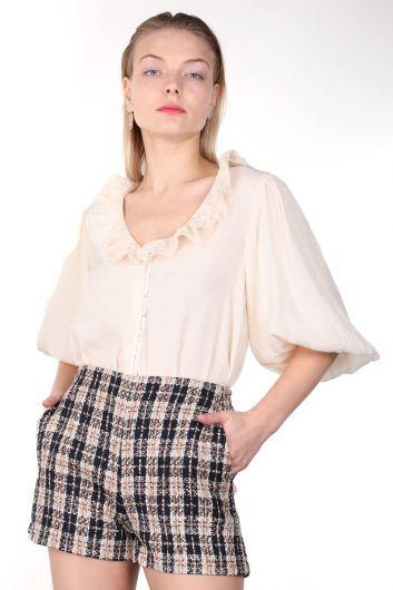Lace Collar Balloon Sleeve Women Shirt - Thumbnail