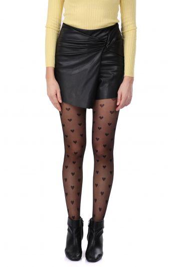 Lace Detail Faux Leather Women's Short Skirt - Thumbnail