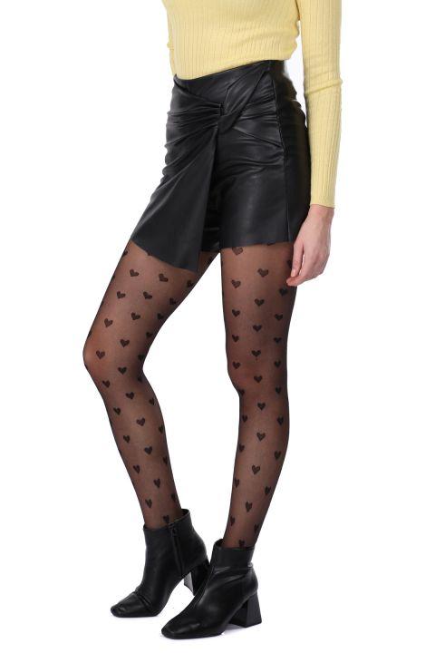 Lace Detail Faux Leather Women's Short Skirt