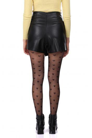 Женская короткая юбка из искусственной кожи с кружевной отделкой - Thumbnail