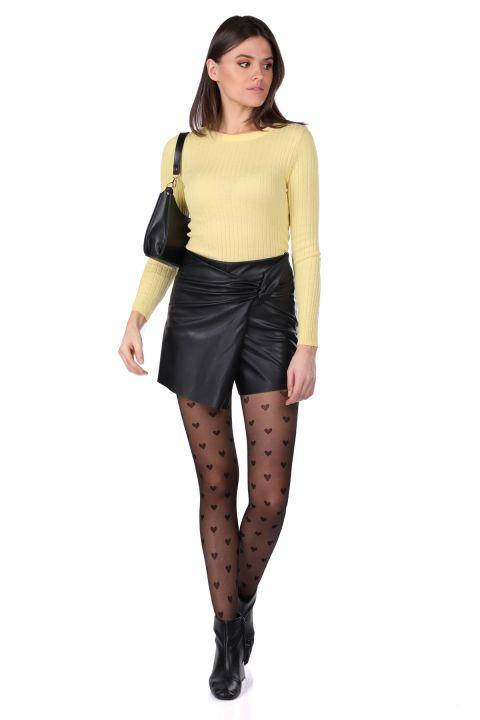 Женская короткая юбка из искусственной кожи с кружевной отделкой