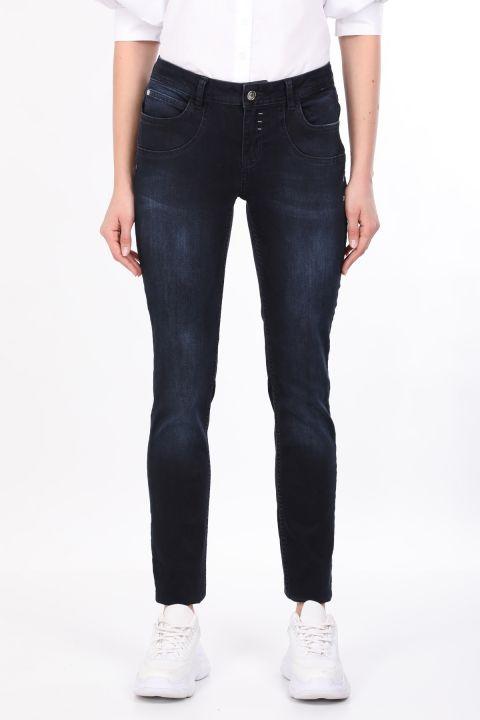 Lacivert Cep Detaylı Kadın Jean Pantolon