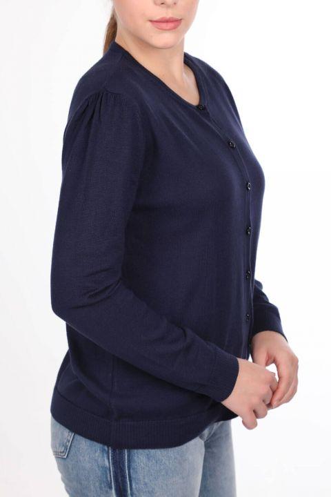 Lacivert Düğmeli Basic Kadın Triko Hırka