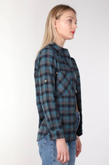 BLUE WHITE - Navy Blue Plaid Women Shirt (1)