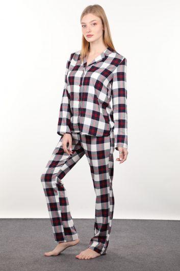 MARKAPIA WOMAN - Lacivert Kırmızı Ekose Kadın Pijama Takımı (1)