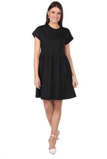 Черное прямое мини-платье - Thumbnail