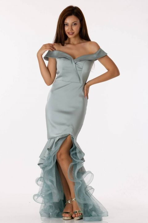 Low Shoulder Skirt Ruffle Satin Evening Dress