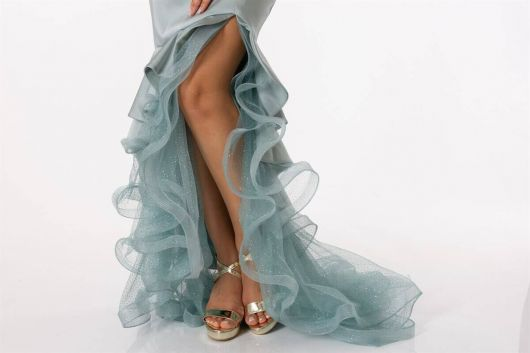 Low Shoulder Skirt Ruffle Satin Evening Dress - Thumbnail