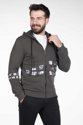 Laser Cut Zipper Men's Cardigan - Thumbnail