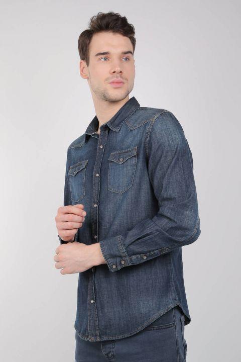 Мужская джинсовая рубашкаLast Player