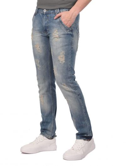 LAST PLAYER - Last Player Men's Ripped Detailed Jean Trousers (1)