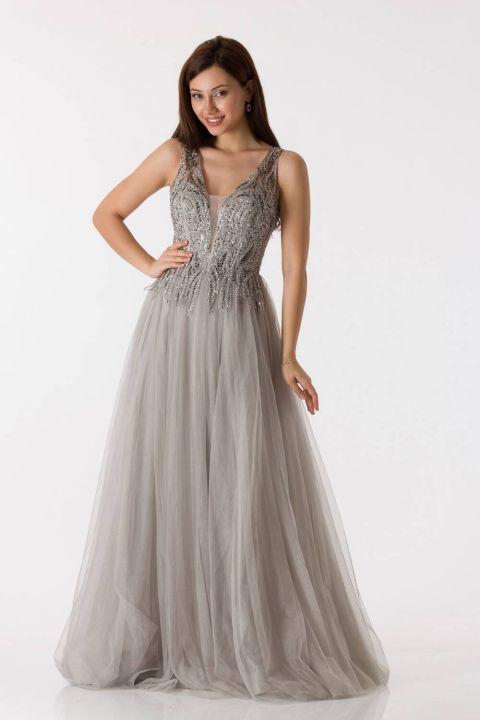 فستان خطوبة طويل بلون الحجر من التل بحزام سميك