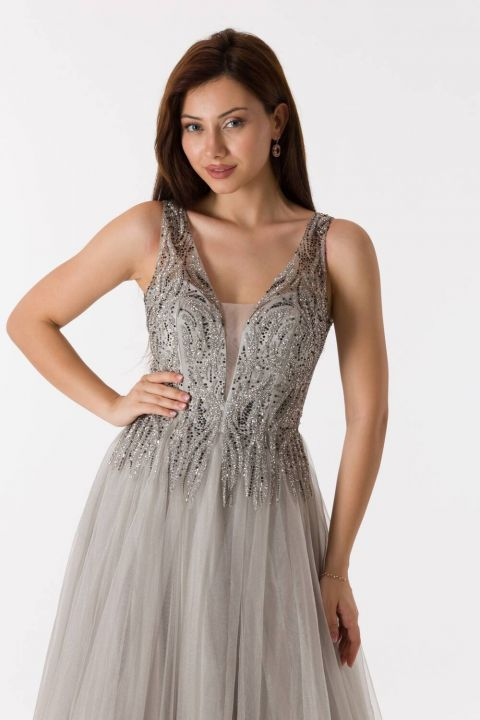 Kalın Askılı Tüllü Taş Rengi Uzun Nişan Elbisesi