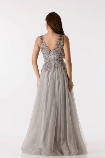 Длинное платье для помолвки из тюля с толстыми бретелями - Thumbnail