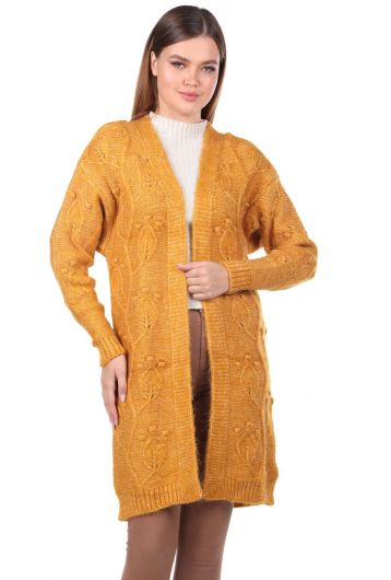 Leaf Patterned Knitwear Cardigan - Thumbnail