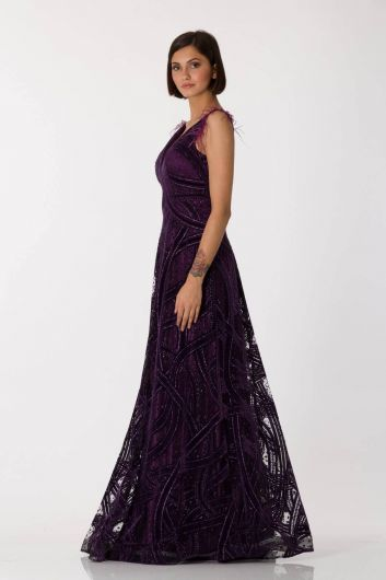 shecca - Thick Strap Feather Detailed Purple Long Evening Dress (1)