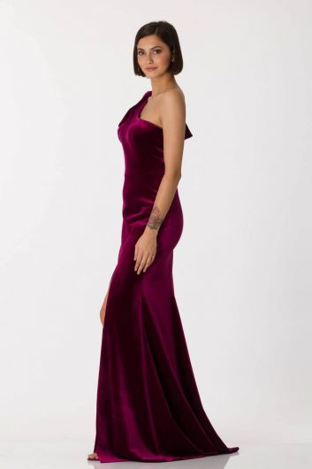 Shecca By Dayi - One Sleeve Slit Detailed Burgundy Long Evening Dress (1)