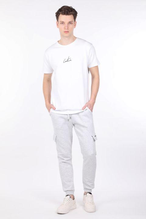 Светло-серые мужские спортивные штаны-джоггеры с карманом карго с оболочкой