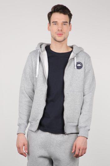 Light Gray Raised Zipper Hooded Men's Sweatshirt - Thumbnail