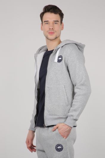 MARKAPIA - Light Gray Raised Zipper Hooded Men's Sweatshirt (1)