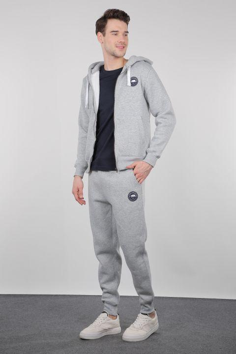 Light Gray Raised Zipper Hooded Men's Sweatshirt