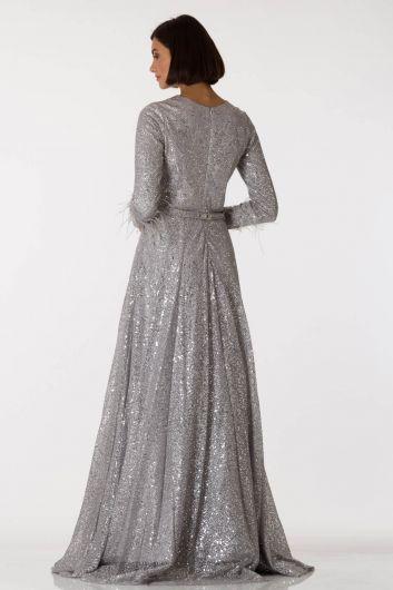 shecca - فستان سهرة طويل باللون الرمادي الفضي بأكمام طويلة (1)