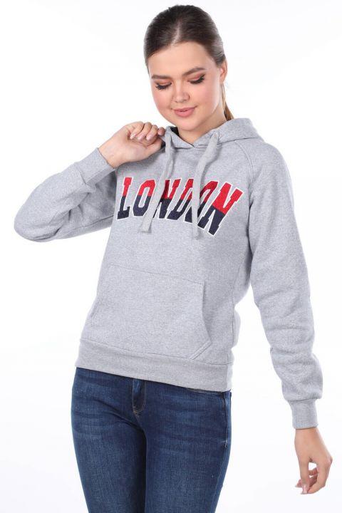 London Aplikeli Gri Kapüşonlu Kadın Sweatshirt