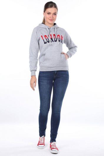 Серая женская толстовка с капюшоном London Applique - Thumbnail