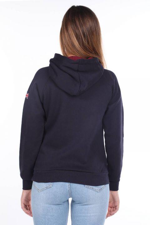Темно-синий женский свитшот с капюшоном из флиса London Appliqued