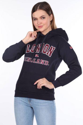 London Appliqued Fleece Navy Blue Hooded Women's Sweatshirt - Thumbnail