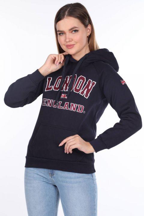 London Appliqued Fleece Navy Blue Hooded Women's Sweatshirt