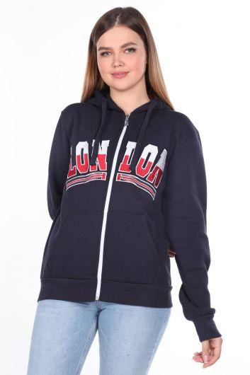 London Applique Inside Fleece Hooded Zipper Sweatshirt - Thumbnail