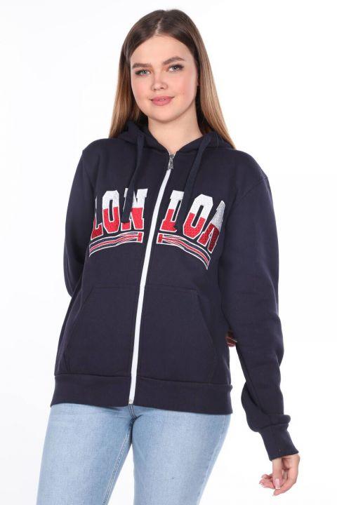 London Applique Inside Fleece Hooded Zipper Sweatshirt