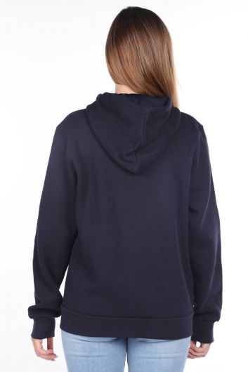MARKAPIA WOMAN - London Applique Inside Fleece Hooded Zipper Sweatshirt (1)