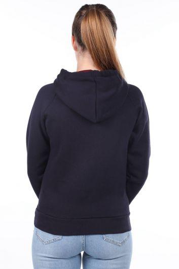 MARKAPIA WOMAN - London Applique Navy Blue Hooded Women's Sweatshirt (1)