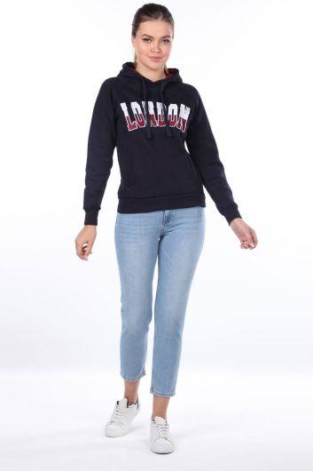 London Applique Navy Blue Hooded Women's Sweatshirt - Thumbnail