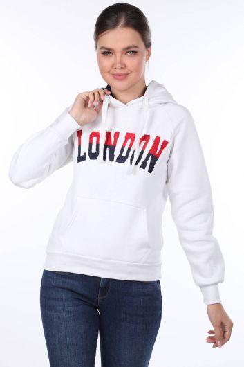 Белая женская толстовка с капюшоном London Applique - Thumbnail