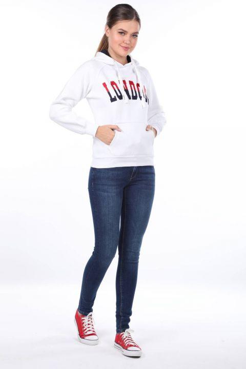 Белая женская толстовка с капюшоном London Applique