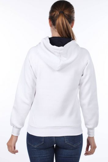 MARKAPIA WOMAN - London Applique White Hooded Women's Sweatshirt (1)