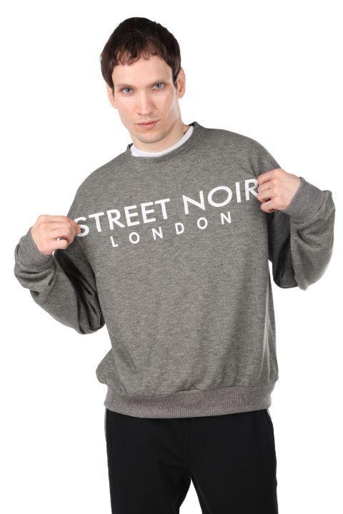London Baskılı Erkek Bisiklet Yaka Sweatshirt
