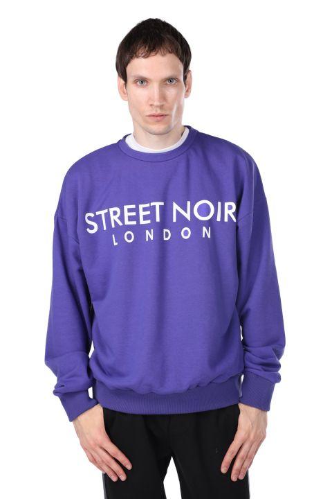 London Baskılı Mor Erkek Bisiklet Yaka Sweatshirt