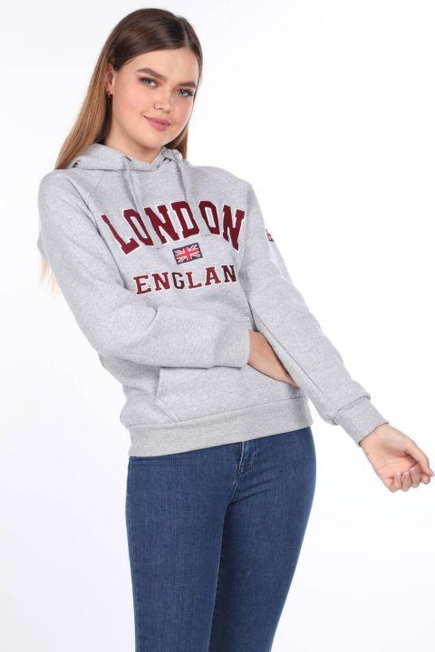 London England Aplikeli İçi Polarlı Açık Gri Kapüşonlu Kadın Sweatshirt