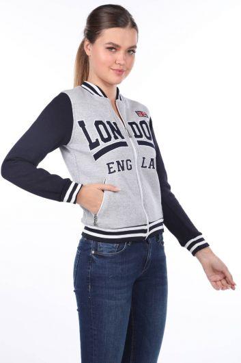 London England Aplikeli İçi Polarlı College Kadın Sweatshirt - Thumbnail